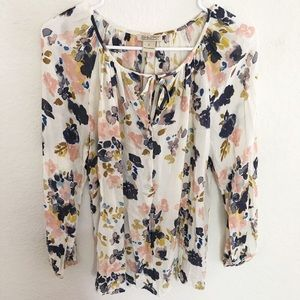 Lucky Brand Long Sleeve Floral Blouse
